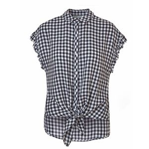 Cleo Black and White Checkered Button Top